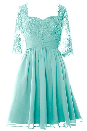 Half Wedding Sleeves Macloth Mother Women Aqua Bride Of Formal Dress Gown Midi Lace OOTWHn