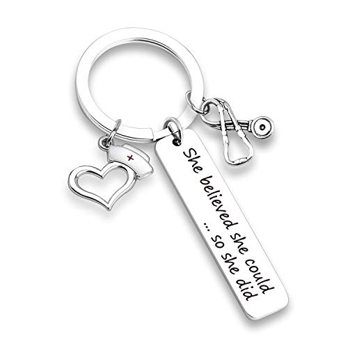 EIGSO Nurse Keychain Nurse Graduation Gift She Believed She Could So She Did Inspirational Jewelry RN LPN Gift Medical Student Gift for Nurse (Nurse hat Stethoscope ()