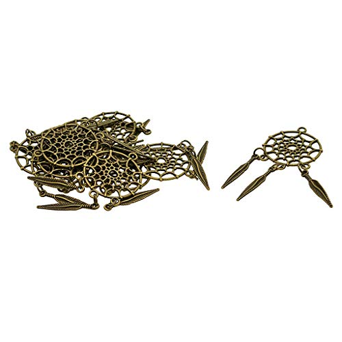 10x Feather Tassel Alloy Charms Pendants Findings Jewelry Making Accessories (Color - Bronze)