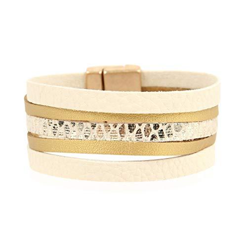 Ivory Cuff Bangle - RIAH FASHION Bohemian Faux Suede Leather Wrap Multi Layer Bracelet - Boho Wrist Adjustable Cuff Bangle Crystal Rhinestone/Metallic Bead/Natural Stone/Pearl Embellishment (5 Multi Color Layer - Ivory)