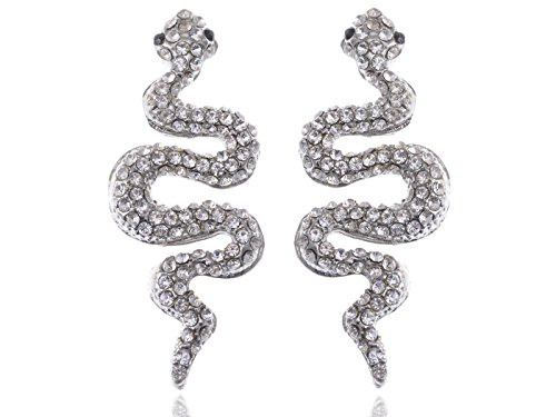 Slithering Serpent Egyptian Cleopatra Ice Bling Crystal Rhinestone Stud Earrings