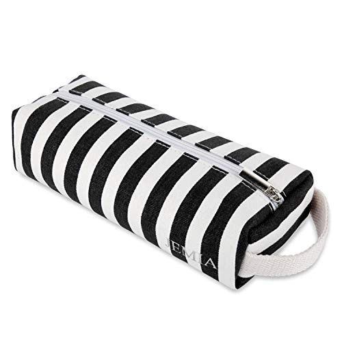 JEMIA - Black White Stripe Canvas Pencil Cases with Handle, Zipper Pouch Compartment Bag to Hold Office or Cosmetic Supply Accessories and Organized for Kid, Teen, Boy, Girl or Adult - Pouch Handle