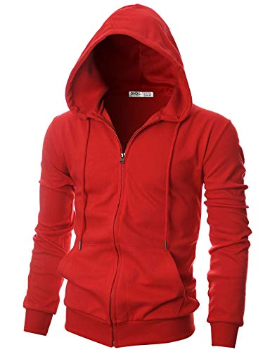 - OHOO Mens Slim Fit Long Sleeve Lightweight One-Tone Zip-up Hoodie with Kanga Pocket/DCF136-RED-3XL