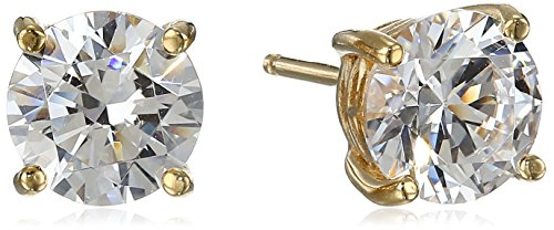- Yellow Gold Plated Sterling Silver Stud Earrings set with Round Cut Swarovski Zirconia (3 cttw)