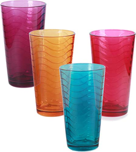 (Circleware 44336 Pulse Set of 4-17 oz Tall Ice Tea Drinking Glasses, Aqua Fuchsia, Orange, Purple, Glassware for Water, Juice, Beer Beverage, 4pc, Colors)