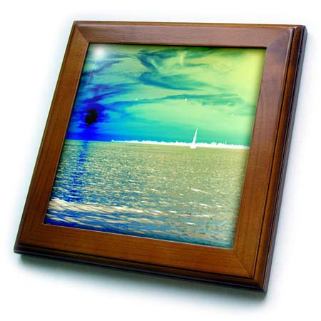 Tile Framed Sky - 3dRose Lens Art by Florene - Neon Landscapes - Image of White Sailboat Against Chartreuse Sky and Blue Sun - 8x8 Framed Tile (ft_306854_1)
