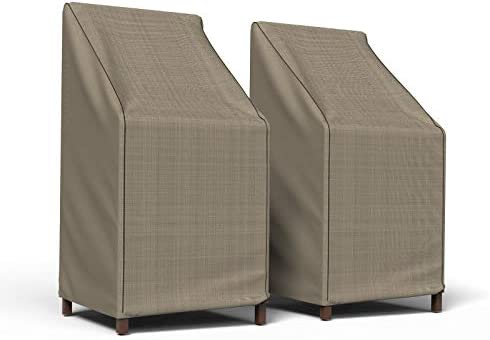 Budge P1A01PM1-2PK English Garden Patio Stack of Chairs Barstool Cover 2 Pack Heavy Duty and Waterproof, Chairs Chair 2-Pack , Tan Tweed