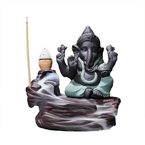 Indian Elephant Incense Holder - Floralby Indian Elephant God Ganesha Backflow Incense Burner Censer Incense Holder Home Decor Handicraft