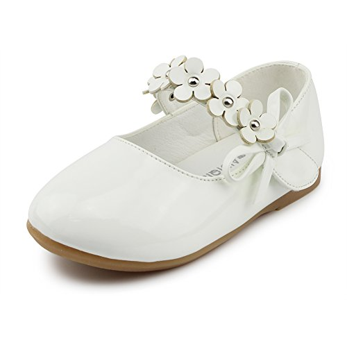 Maxu Kids PU Flower Slip on Flats Fashion Oxford,White,Toddl