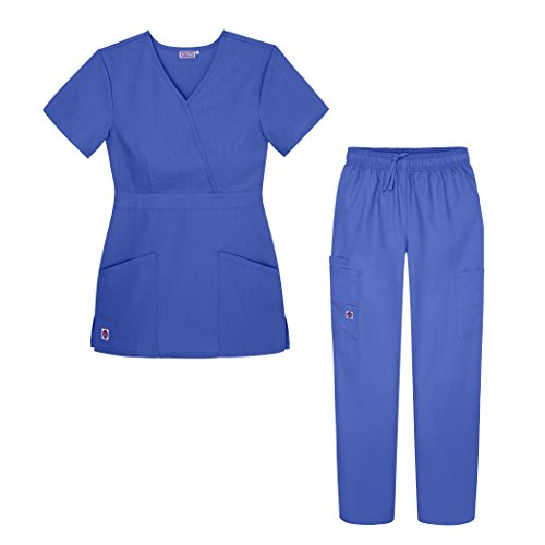 (Sivvan Women's Scrub Set - Multi Pocket Cargo Pants & Stylish Mock Wrap Top - S8401 - CBL - 2X Ceil Blue)