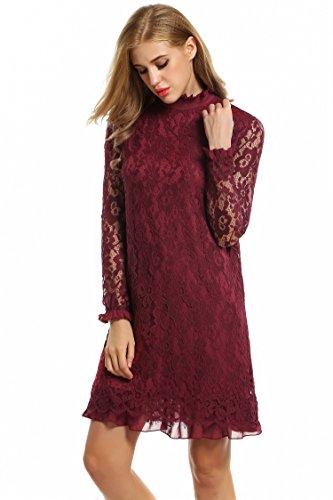 ... Zeagoo Damen Elegant Spitzenkleid Cocktailkleid Abendkleid Festliches  Kleid Langarm Knielang Weinrot N9pBieD5 ... 5f6d0f0a3b