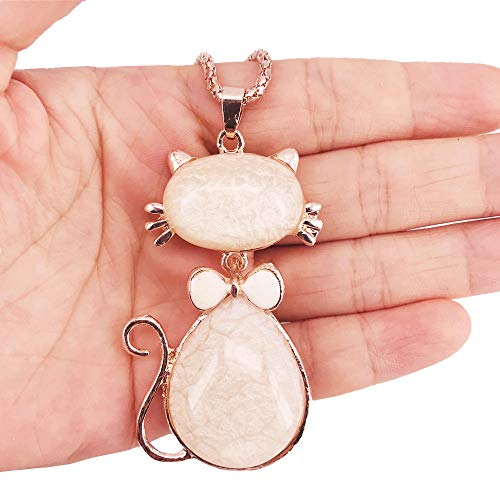 QTMY Cute Opal Cat Pendant Long Necklace for Women Girls Kids,Statement Fashion Jewelry
