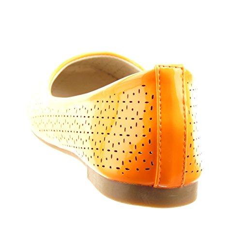 Sopily - damen Mode Schuhe Ballerina glänzende Perforiert - Orange