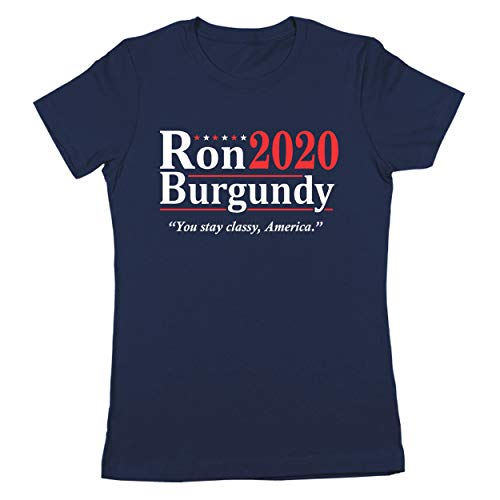 Donkey Tees Ron Burgundy Election 2020 The Legend Anchorman Womens Shirt Large Navy