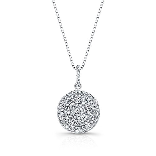 18k White Gold Pave Diamond Pendant (14k White Gold Circle Diamond Pendant Necklace ( 1/2 cttw) 18