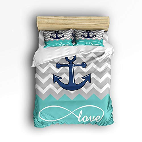 Smile Sunflower Bedding Set Queen Size Nautical Anchor with Rope Love Zig Zag Teal Soft Lightweight Duvet Cover Set, 1 Duvet Cover 1 Flat Sheet and 2 Pillow Cases ()