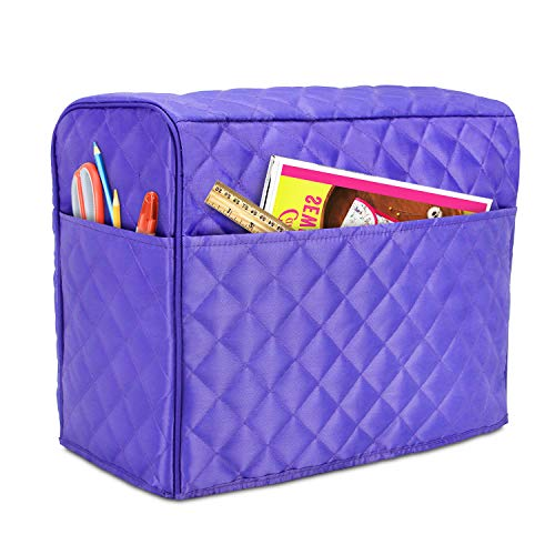 Luxja Dust Cover for Sewing Machine, Sewing Machine Cover with Pockets for Extra Accessories (Compatible with Brother and Singer), Purple (Quilted Fabric)