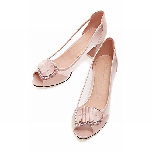 Show Shine Damesmode Mesh Peep Toe Loafers Schoenen Roze