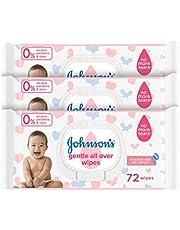 مناديل لتنظيف لطيف لكامل البشرة الاطفال من جونسون، 72 منديل - 3 قطع