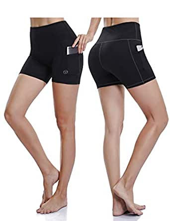 ALONG FIT High Waisted Running Shorts Yoga Shorts for Women with Side Pockets 2 pack