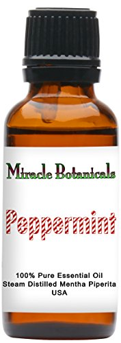 Miracle Botanicals USA Peppermint Essential Oil - 100% Pure Mentha Piperita - 10ml or 30ml Sizes - Therapeutic Grade - (Best Botanical Beauty Peppermint Oils)