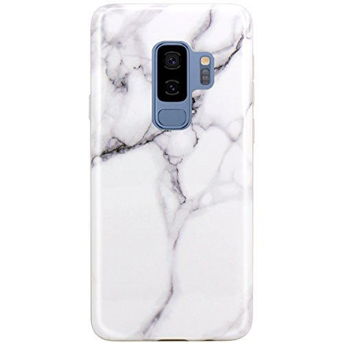 - JAHOLAN Galaxy S9 Plus (S9+) Case White Marble Design Slim Flexible Clear Bumper TPU Soft Case Rubber Silicone Skin Cover for Samsung Galaxy S9 Plus (S9+)