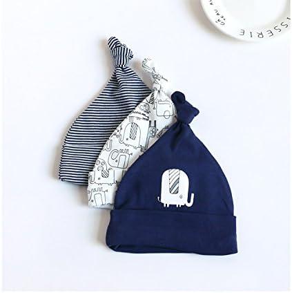 Berretto Cute Baby Hat dei Bambini per Bambino Copricapo Calotta a strisce Beanie Cap Casa Cappello Unisex 3 Pezzi Neonato Berretto di Cotone