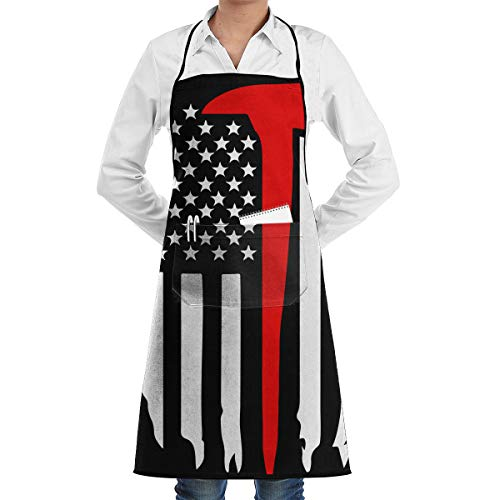 Unisex Overlock Apron Thin Red Line Axe Flags Professional Polyester BBQ Apron For Men ()