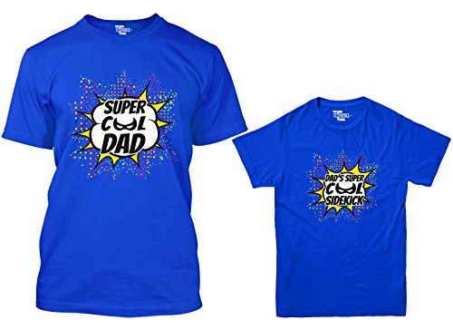 Super Cool Dad/Super Cool Sidekick Matching Youth & Men's T-Shirt (Royal/Royal, Men's Large/Youth Medium)