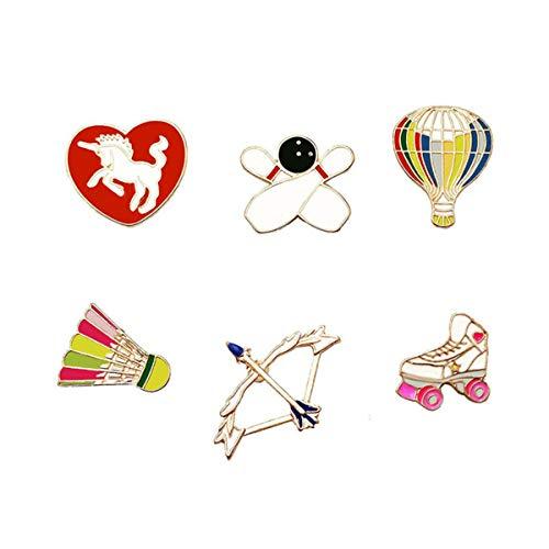 WINZIK Lapel Pins Set Novelty Cute Cartoon Brooch Badges for Children Adults Clothes Backpacks Decor (Bowling Roller Skates Pins Set of 6)