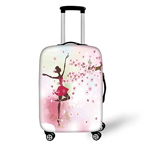 Travel Luggage Cover Suitcase Protector,Kids Room,Ballet Butterfly Fairy Ballerina Princess Dancer Flowers Tree Branch Floral Girls Party Print Decorative,,for Travel