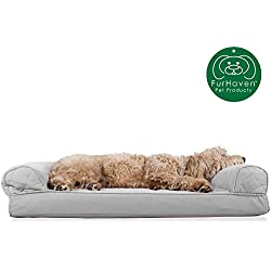 Furhaven Pet Dog Bed | Orthopedic Quilted Traditional Sofa-Style Living Room Couch Pet Bed w/ Removable Cover for Dogs & Cats, Silver Gray, Large