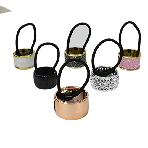 Wrap Accessory Hair (Pack of 6 Alloy Metal Glitter Cuff Wrap Ponytail Holder Hair Tie Fashion Accessory Set for Women Girls)