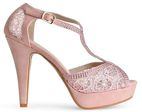 Women's Dress Platform Crochet Sandals High LUSTHAVE Rhinestones Heel Pump Blush Lace Toe Crystal Open 1PYwxd