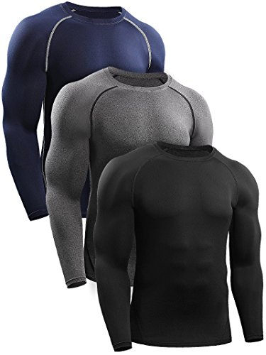 Skin Long Sleeve Compression Shirt (Neleus Men's 3 Pack Workout Compression Long Sleeve Shirt,5035,Black,Grey,Navy Blue,US M,EU L)