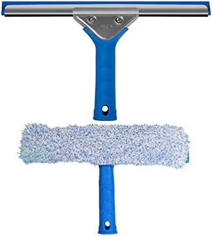 TOPBATHY 2本のプロフェッショナルウィンドウクリーニングツール2-In-1マイクロファイバースクラバーとスキージガラスクリーニングツールセット25cm