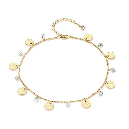 Valloey Rover Dangling Charm Anklet Handmade 14K Gold Filled Dainty Boho Beach Cute Evil Eye Ankle Bracelet Adjustable Natural Aquamarine Cubic Zirconia Disc Gift for ()