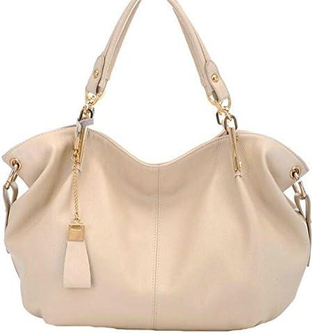 ALLHM Handbag Retro Leather Shoulder Bag Fashion Lady Messenger Bag Simple Scratch-Resistant Large Capacity Bag Multi-Pocket Capacity Color : Beige, Size : OneSize