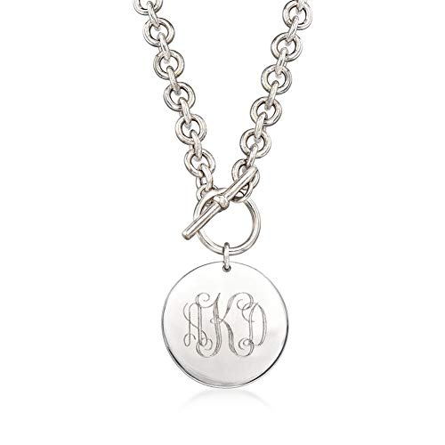(Elefezar Personalized 925 Sterling Silver Monogram Disc Necklace Custom Engraved 3 Initials for Women,Men)