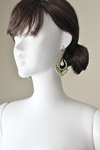 Pink green earrings, chalcedony, glass beads, wire wrapped, all handmade. Hypoallergenic