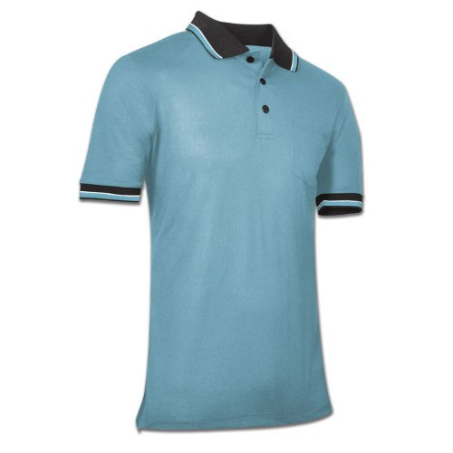 Champro Dri-Gear Umpire Polos Light Blue M (Textured Mesh Shirt Polo)
