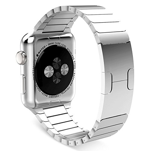 Pomarks Apple Watch Band Wrist Strap Link Bracelet-Polishing Stainless Steel Iwatch Accessories With Original Buckle-Large-Silver