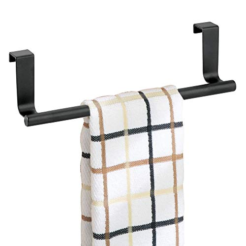 (mDesign Decorative Metal Kitchen Over Cabinet Towel Bar - Hang on Inside or Outside of Doors, Storage and Display Rack for Hand, Dish, and Tea Towels - 9.8