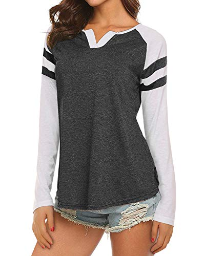 15e6ca253ea Mixfeer Womens Casual Raglan Long Sleeve T-Shirt Loose Blouse Henley V Neck  Baseball Tee
