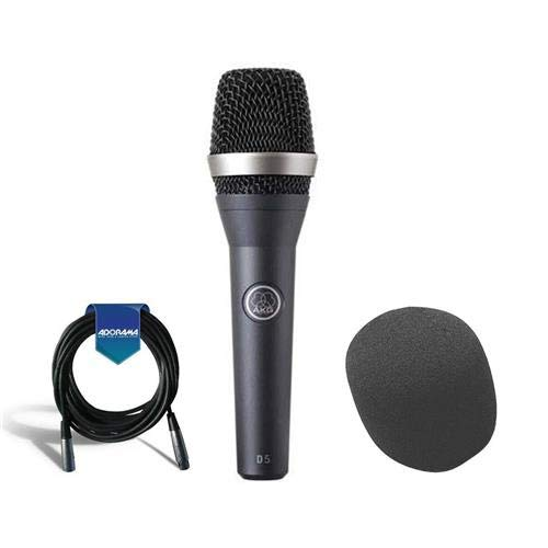 (AKG Acoustics D 5 Standard Dynamic Vocal/Speech Handheld Microphone for Live Applications an' Vocals - Bundle With On-Stage ASWS58 Foam Windscreen, 20' Heavy Duty 7mm Rubber XLR Microphone)