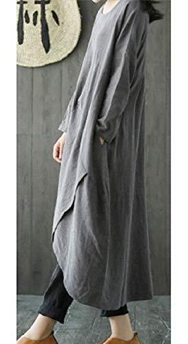 Lino Maxi Maniche Tupath In Eleganti Grey Abito Lunghe Con Lungo O BYxxInE