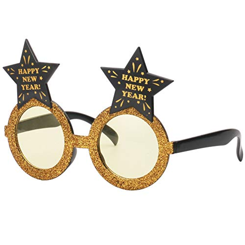 Ocean Line Glittered Happy Year Star Sunglasses – 2019 Fun Glasses, Party Favors, Novelty Shades, Party Toys, Funny Costume Accessories Kids & Adults (Gold) ()