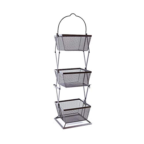 Origami 3-Tier Basket Vegetable Bin Snack Organizer | Fruit Rack, Onion Basket, Kitchen Counter Storage, for Farmhouse Veggies Fruits or Storage Organizer, Metal Wire | Fully Assembly | Black