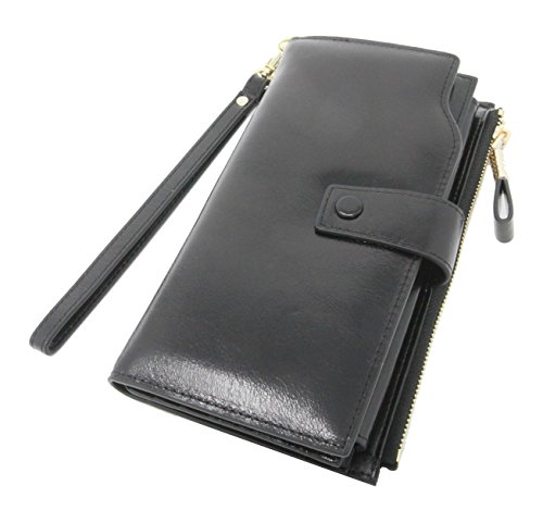 By Olivia - Women's RFID Blocking Wallet Large Capacity Wax Leather with Detachable Wristlet Clutch Card Organizer (Oil Leather, Black) by Olivia