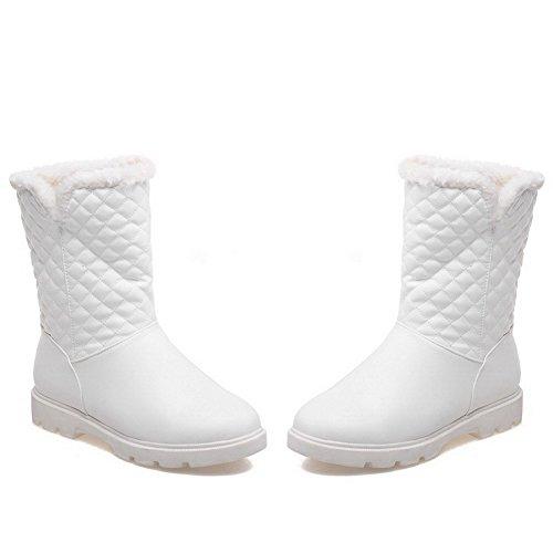 AllhqFashion Mujeres Puntera Redonda Caña Baja Mini Tacón Sólido Pu Botas Blanco